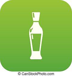 Wine bottle icon green vector