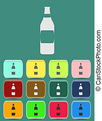 Wine bottle icon with color variations, vector
