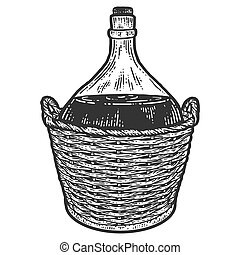Wine bottle in a protective wicker basket. Apparel print design. Scratch board imitation. Black and white hand drawn image.