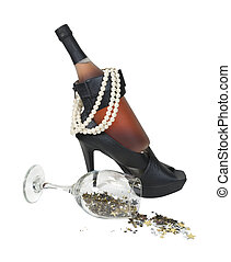 Wine Bottle in Heel Shoes with Pearls and Stars