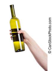Wine bottle in the hand