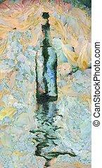 Wine Bottle - Modern art. Wine bottle reflects in water. 3D...