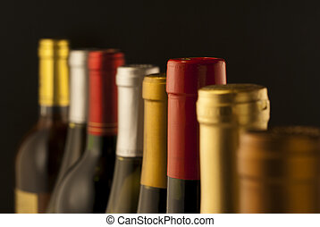 Wine bottle necks with limited depth of depth of field on ...