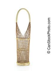 Wine bottle rattan basket isolated.