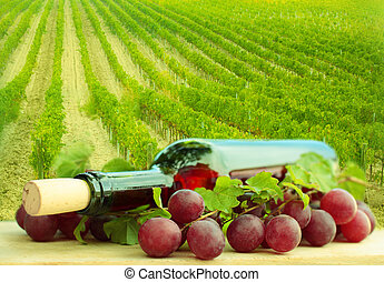 Wine bottle, red grape and green leaves - background