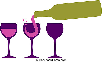 Wine bottle serving wineglasses