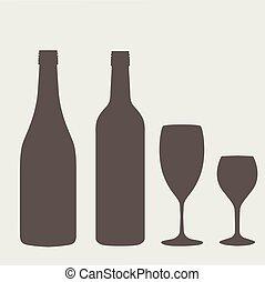 wine bottle sign set. Bottle icon. - Wine bottle sign set....