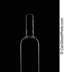 Wine bottle silhouette over black background