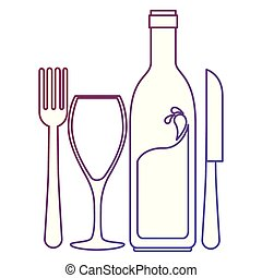 wine bottle silhouette with cup and cutlery