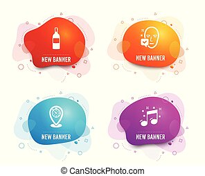 Wine bottle, Timer and Face accepted icons. Musical note sign. Vector