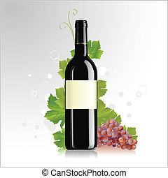 Wine bottle with blank label - Vector illustration of wine...