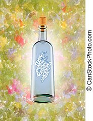 Wine bottle with colorful background