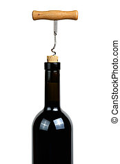 Wine bottle with corkscrew isolated on white background