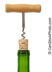 Wine bottle with corkscrew