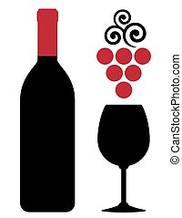 wine bottle with glass and red grape
