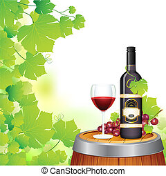 illustration of wine glass and bottle in wineyard