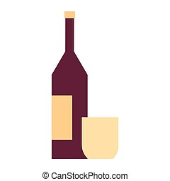 wine bottle with glass in white background