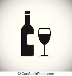 Wine bottle with glass on white background