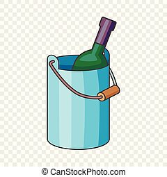 Wine bottle with ice bucket icon, cartoon style