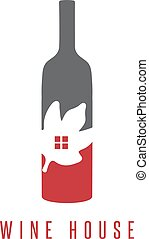 wine bottle with leaf and window vector design template