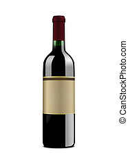Wine Bottle - XL - Red wine bottle, with vintage label. ...