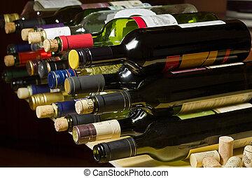 Wine bottles and corks.