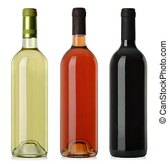 Wine bottles blank no labels - Three merged photographs of...