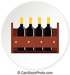 Wine bottles in a wooden crate icon in flat circle isolated vector illustration for web