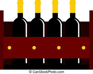 Wine bottles in a wooden crate icon isolated - Wine bottles...