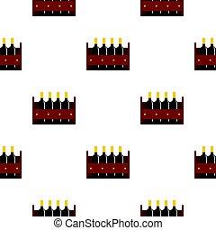 Wine bottles in a wooden crate pattern flat - Wine bottles...