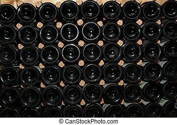 Wine Bottles in Wall Rack