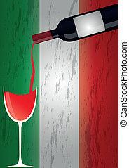 illustration of bottle and wineglass with france flag in background