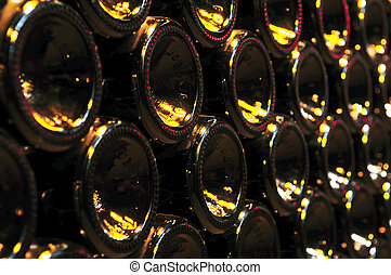 Large stack of wine bottle bottoms in winery