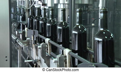 Wine Bottles Moving Along The Conveyor Line HD