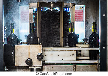 wine bottles on a conveyor