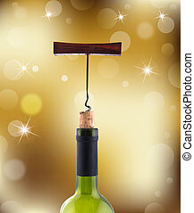 wine bottles on gold abstract