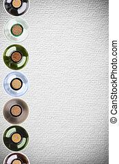 wine bottles on pattern paper background