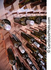 wine bottles on wall