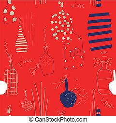 Wine bottles seamless grunge pattern in red