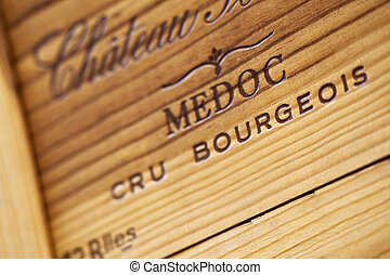 Wine box - Close up of a wooden wine box in a winery