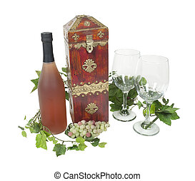 Wine Box with a Bottle and Glasses