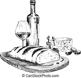 Wine, bread and blue cheese. Hand drawn illustration