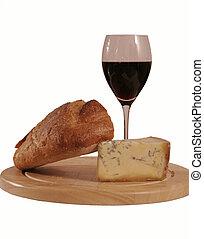wine, bread, cheese