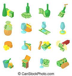 Wine business icons set, isometric style