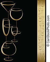 Wine card menu with wineglasses