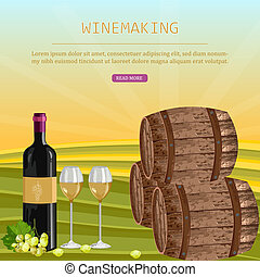 Wine card with barrels and bottle Vector. Vineyard backgrounds