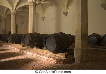 Wine casks in cellar - A collection of old wooden wine casks...