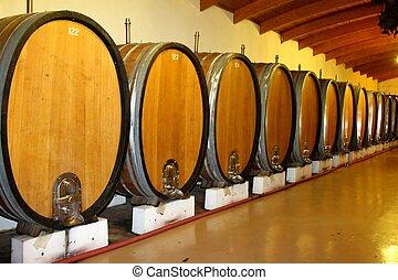 Wine Casks or Barrels - Wine casks or barrels in a wine...