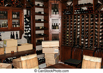 Wine Cellar - A bunch of wine bottles in racks in a wine...