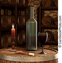 A candle lit shot of a wine bottle and glass of wine inside of a wine cellar